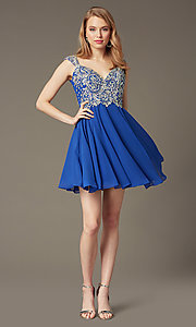 Image of Short Beaded Cap Sleeve Backless Dress Style: DQ-9160 Front Image