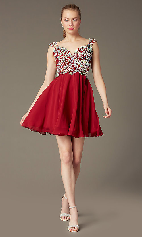 Image of Short Beaded Cap Sleeve Backless Dress Style: DQ-9160 Detail Image 5