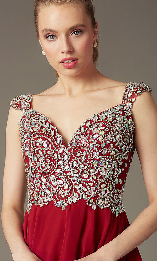 Image of Short Beaded Cap Sleeve Backless Dress Style: DQ-9160 Detail Image 7