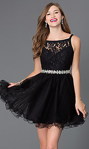Image of short lace baby-doll dress with beaded waist. Style: DQ-9139 Front Image