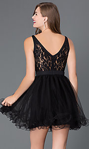 Image of short lace baby-doll dress with beaded waist. Style: DQ-9139 Back Image