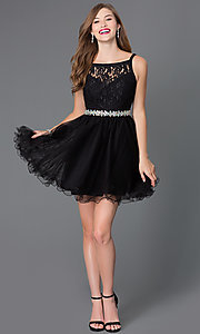 Image of short lace baby-doll dress with beaded waist. Style: DQ-9139 Detail Image 1