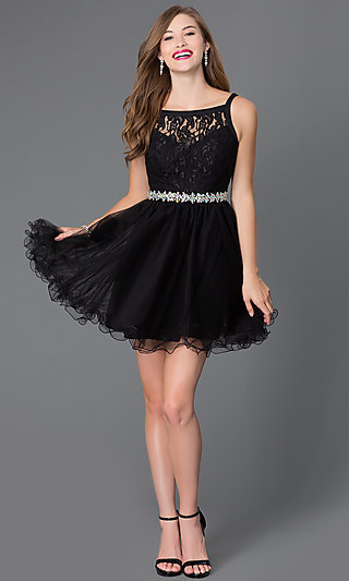 Short Baby Doll Lace Dress With Beaded Waist
