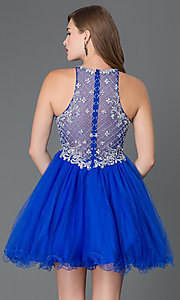 Image of jeweled sheer-illusion homecoming babydoll dress. Style: DQ-9158 Back Image