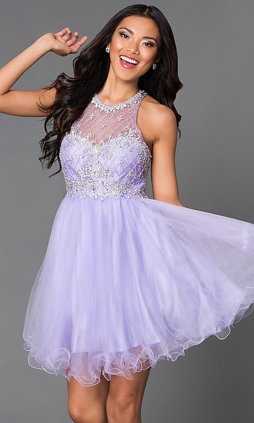 Image of jeweled sheer-illusion homecoming babydoll dress. Style: DQ-9158 Detail Image 2