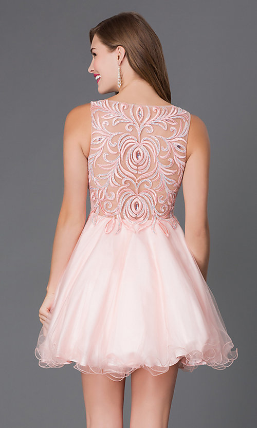 Image of Sleeveless Embroidered Bodice Short Prom Dress Style: DQ-9169 Back Image