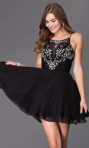 Image of Short Spaghetti Strap Black Elizabeth K Party Dress Style: FB-GS2026 Front Image