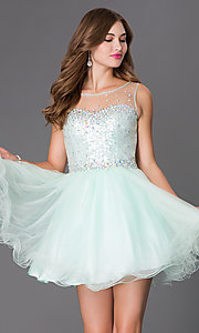 Image of Short Sleeveless Dress with Sheer Mesh Sequin Bodice Style: FB-GS2046 Front Image