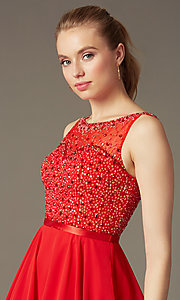Image of short sleeveless a-line sequin party dress Style: NA-6163 Detail Image 1