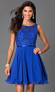 Image of short sleeveless a-line sequin party dress Style: NA-6163 Detail Image 2