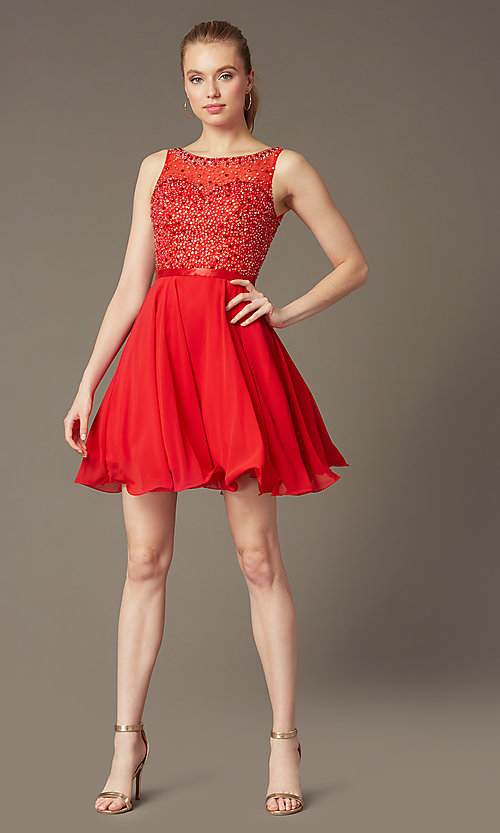 Image of short sleeveless a-line sequin party dress Style: NA-6163 Front Image