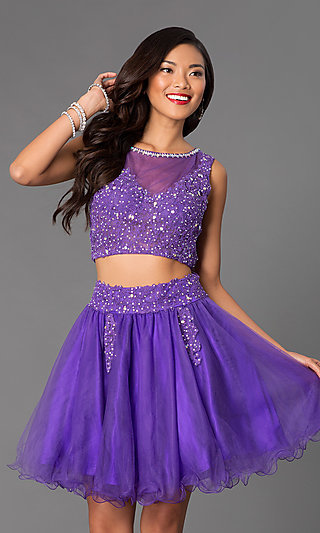 Short Two-Piece Tulle  Babydoll Prom Dress