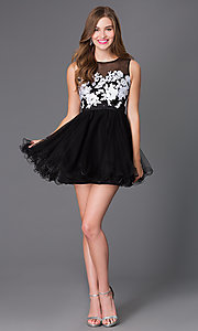 Image of sleeveless illusion baby-doll party dress. Style: NA-6040 Detail Image 2