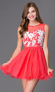 Image of sleeveless illusion baby-doll party dress. Style: NA-6040 Front Image