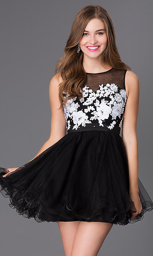 Image of sleeveless illusion baby-doll party dress. Style: NA-6040 Detail Image 1