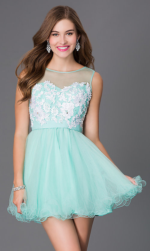 Image of sleeveless illusion baby-doll party dress. Style: NA-6040 Detail Image 3