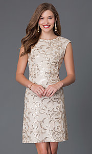 Image of sequined short cap-sleeve party dress Style: SF-8803 Front Image