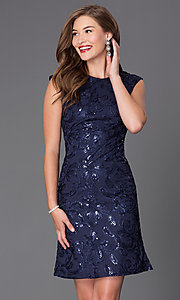 Image of sequined short cap-sleeve party dress Style: SF-8803 Detail Image 1