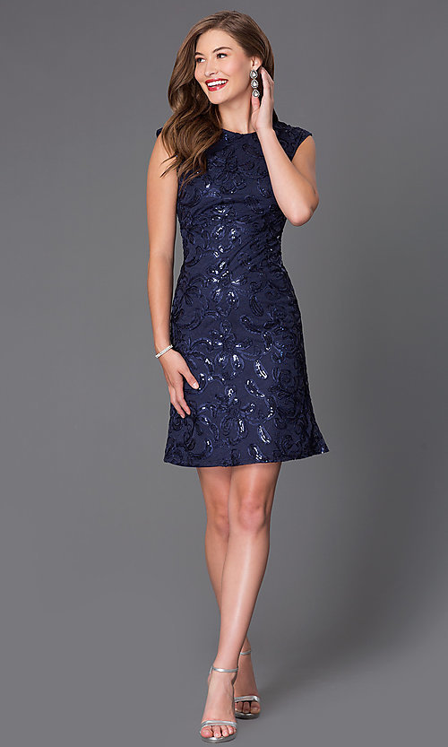 Image of sequined short cap-sleeve party dress Style: SF-8803 Detail Image 2