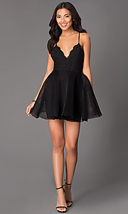 Image of short fit-and-flare scalloped lace v-neck dress Style: LUX-LD1403 Detail Image 1