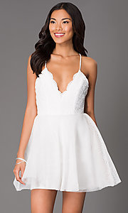 Image of short fit-and-flare scalloped lace v-neck dress Style: LUX-LD1403 Detail Image 2
