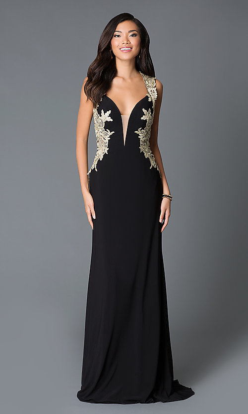 0f314cded38 Image of Floor length sheer back V-neck embroidered gown Style  JO-JVN