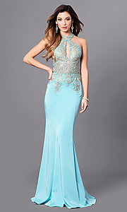 Image of floor-length racer-back sleeveless formal gown. Style: JO-JVN-JVN33691 Detail Image 3