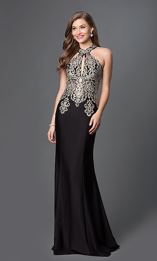 Image of floor-length racer-back sleeveless formal gown. Style: JO-JVN-JVN33691 Front Image