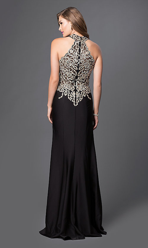 Image of floor-length racer-back sleeveless formal gown. Style: JO-JVN-JVN33691 Back Image