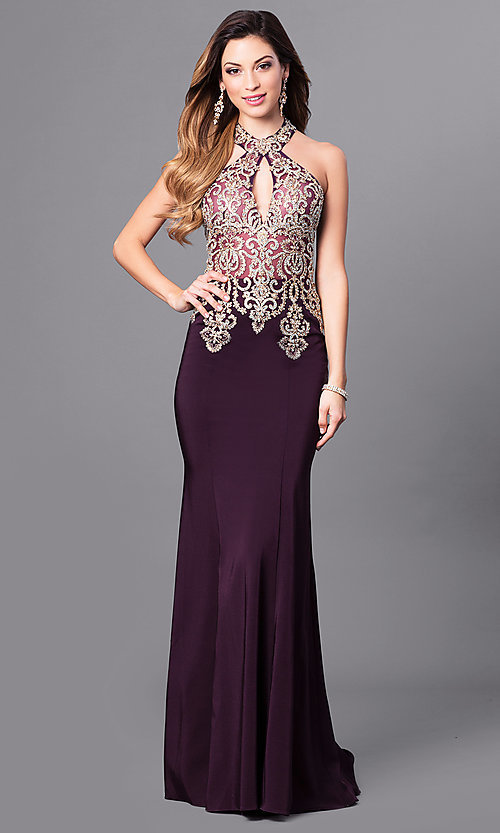Image of floor-length racer-back sleeveless formal gown. Style: JO-JVN-JVN33691 Detail Image 2