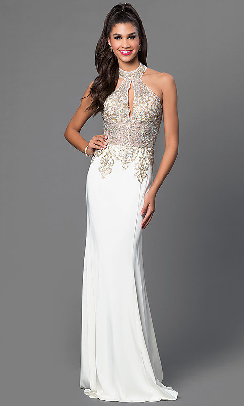 Image of floor-length racer-back sleeveless formal gown. Style: JO-JVN-JVN33691 Detail Image 1