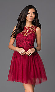 Image of short a-line cocktail dress with lace bodice Style: LP-23018 Front Image