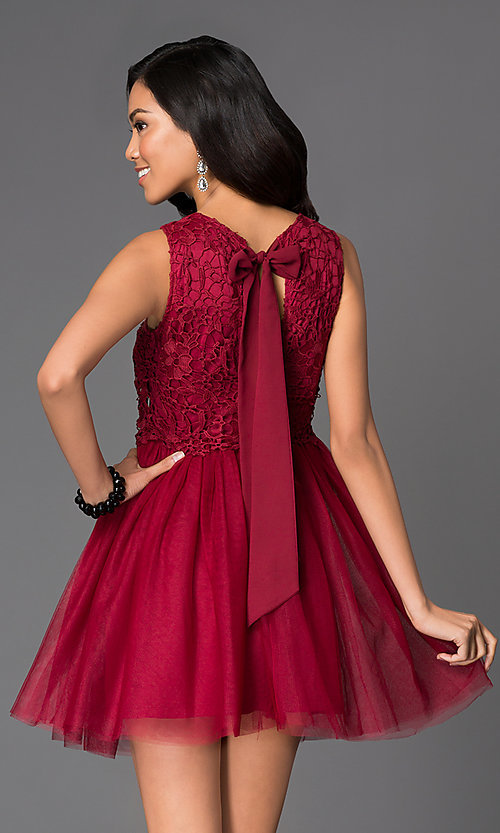 Image of short a-line cocktail dress with lace bodice Style: LP-23018 Back Image
