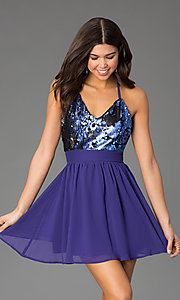 Image of open-back v-neck short party dress with sequins. Style: CCC-6S5735-vp Detail Image 2