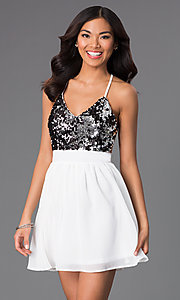 Image of open-back v-neck short party dress with sequins. Style: CCC-6S5735-vp Front Image