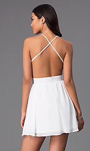 Image of open-back v-neck short party dress with sequins. Style: CCC-6S5735-vp Back Image