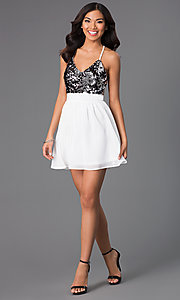 Image of open-back v-neck short party dress with sequins. Style: CCC-6S5735-vp Detail Image 1