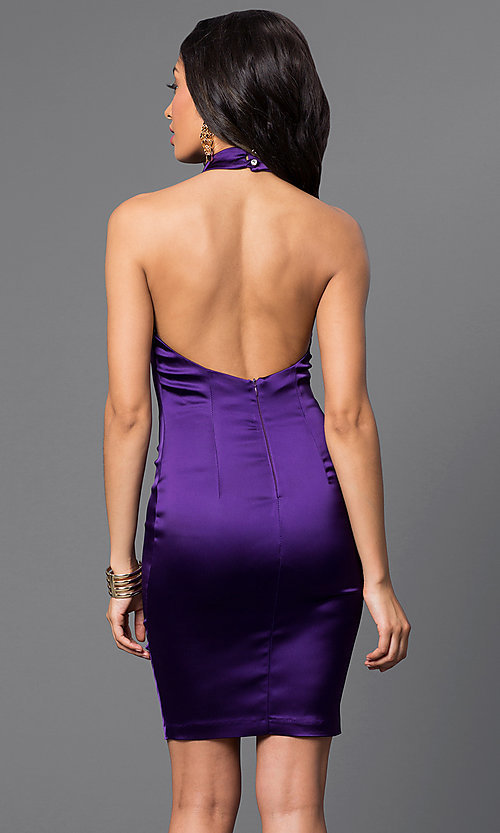 Image of Short Satin Halter Burgundy Red Cocktail Dress Style: TW-4199 Back Image
