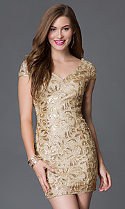 Image of short sequined lace backless cocktail dress Style: TW-4198 Front Image