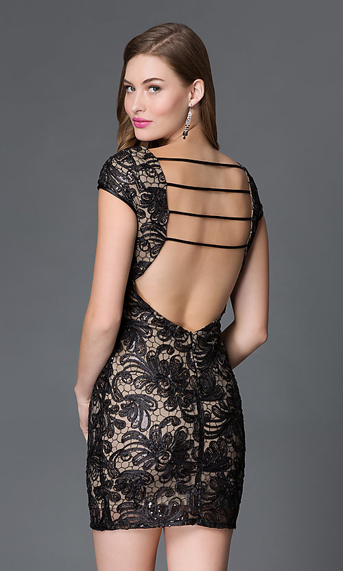 Image of short sequined lace backless cocktail dress Style: TW-4198 Back Image