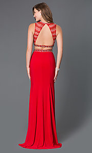 Image of backless long two-piece formal gown Style: NA-8174 Back Image