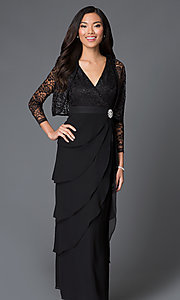 Image of lace-bodice long chiffon evening dress with jacket. Style: SF-8729 Detail Image 3