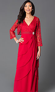 Image of lace-bodice long chiffon evening dress with jacket. Style: SF-8729 Detail Image 2