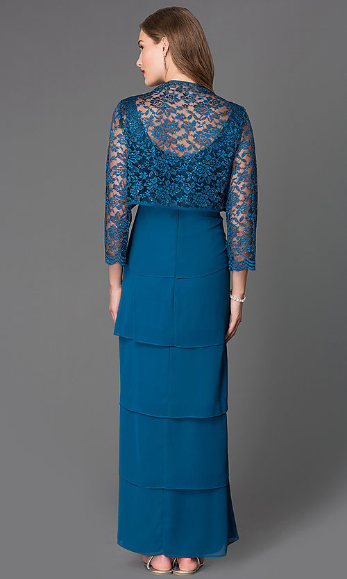 Image of lace-bodice long chiffon evening dress with jacket. Style: SF-8729 Back Image