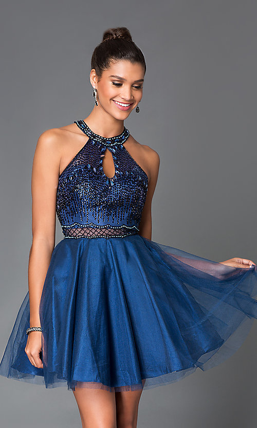Image of short navy blue homecoming dress with cut outs. Style: MF-E1888 Front Image