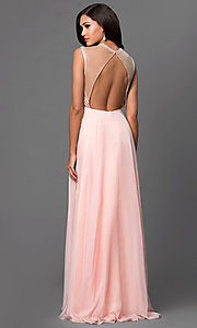 Image of open-back Dave and Johnny formal gown with beads. Style: DJ-2368 Back Image