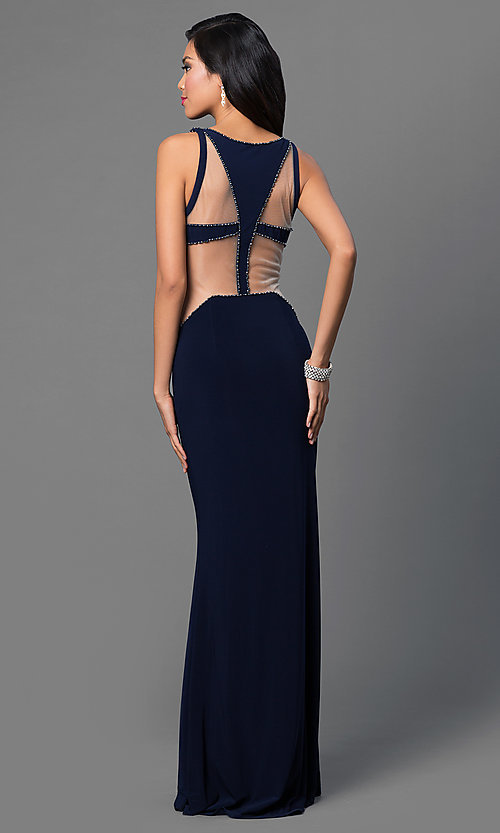 Image of cut-out Dave and Johnny long formal prom dress. Style: DJ-1849 Back Image