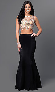 Image of Two Piece Long Black Mermaid Gown Style: DJ-2622 Front Image