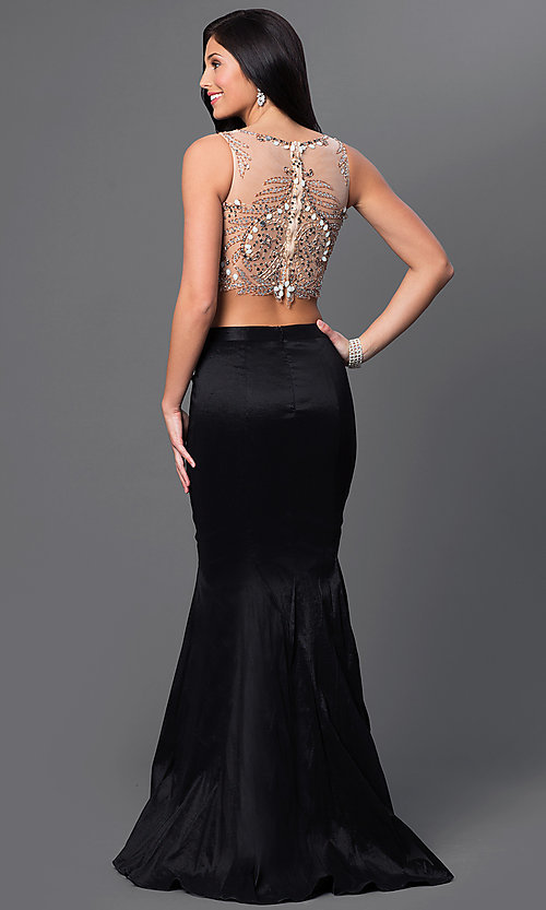 Image of Two Piece Long Black Mermaid Gown Style: DJ-2622 Back Image