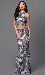 Image of animal-print two-piece Dave and Johnny prom dress. Style: DJ-2304 Front Image